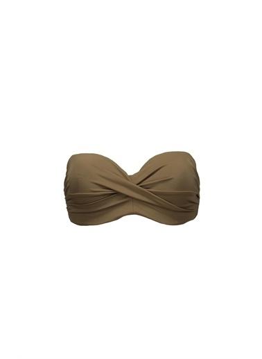 Collezione Haki Boyundan Bağlamalı Kaplı Kadın Bikini Üstü Haki